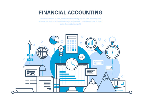 Financial accounting, analysis, market research, deposits, contributions, savings, statistics, management. Illustration