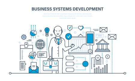 Business Systementwicklung, Analyse und Forschung, Marketing, Planung, Grafik, Strategie. Standard-Bild - 80633667