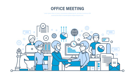 Office meeting, workflow space, teamwork, partnership, exchange of information, communications.