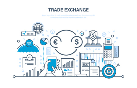 graphic display cards: Trade exchange, trading, protection, growth of finance, economic indicators, transaction.