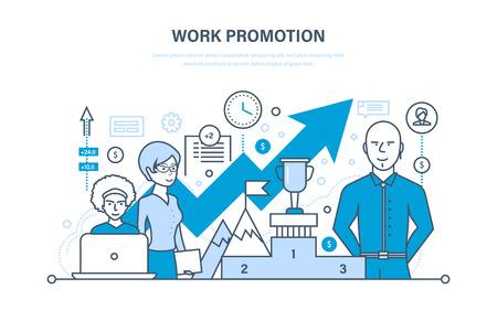 Werkbevordering, succes, bedrijfsstrategie, prestatie, leiderschap, teamwork, business team. Stock Illustratie