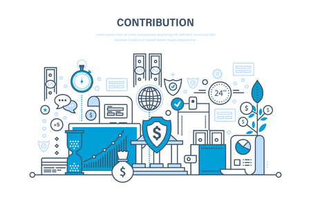 savings account: Contribution, investment, deposits, security payments, storage of finance, marketing, savings. Illustration