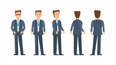 Businessman in strict business, work clothes, various poses and positions. Stock Vector - 80931978