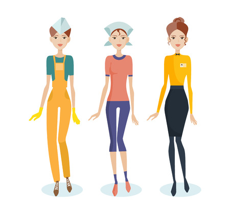 Set of girls in work clothes, personal professional service form. Illustration