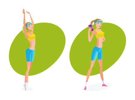 Girl does various exercises, and she makes perfect result. Illustration