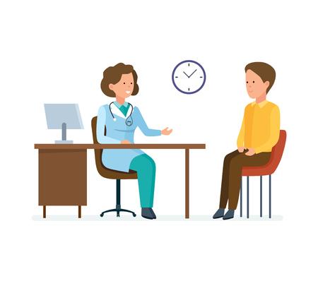 Arts-therapeut neemt patiënt, werkt met persoonlijke kaart, luistert klachten.