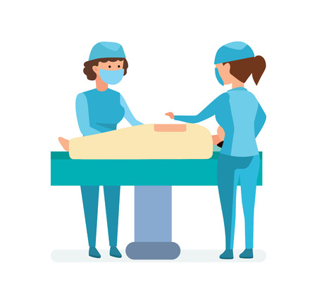 Workers on operation, take patient on table, help each other.