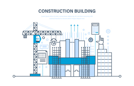Architectural building work, construction site, with technical equipment and machines.