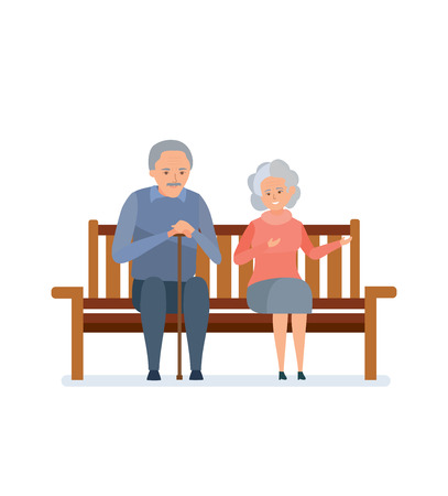 Lovely elderly couple sitting on a bench, they relax, communicate.