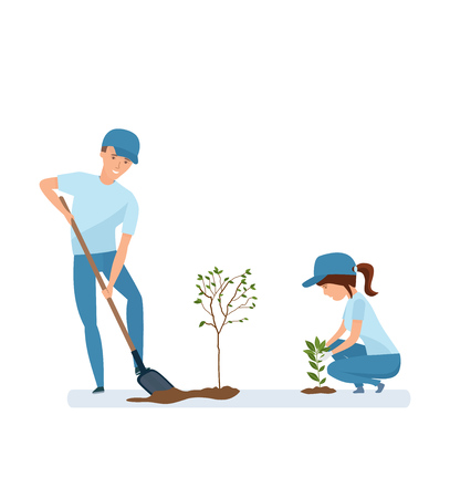 Man and woman holding shovel and planting plants and trees.