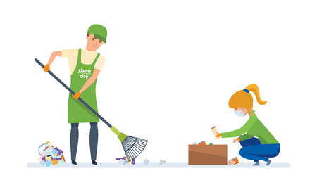 charity collection: Volunteers engaged in cleaning of garbage, for further wasteless processing.