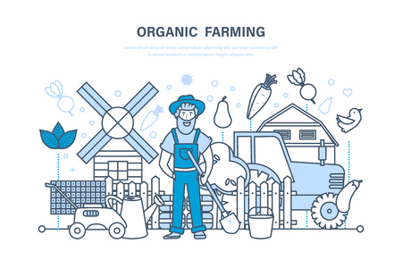 Organic farming, farm and farmer, cultivation of eco natural products.