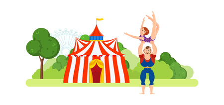 Circus chapiteau building. Athlete, holds on hands girl in sportswear. Illustration