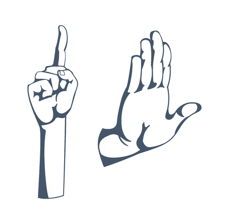 Gestures: sign of attention, stop, thinking, warning, greeting, clever idea.