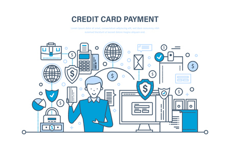 Credit card payment, secure transactions, finance, bank, banking, money transfers.