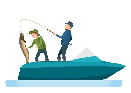 Fishermen take fish, caught on spinning, putting catfish in boat.