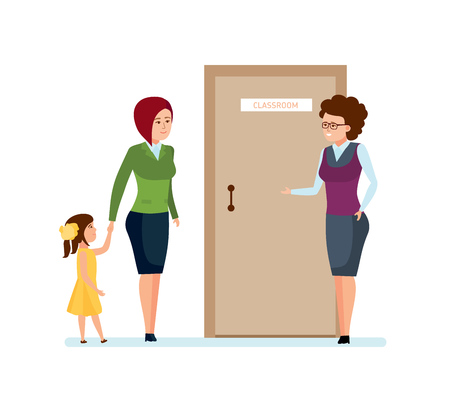 Mom and daughter go for first time to school teacher. Illustration