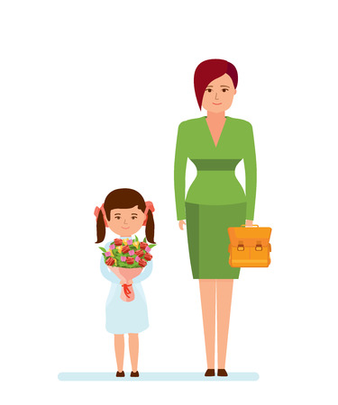 Mom and daughter with beautiful bouquet and backpack in school.