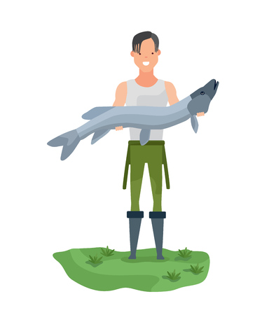 Fisherman on shore, holding huge fish, showing off catch. Illustration