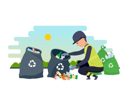 Cleaning city. Household waste, recycling. Employee of service collect garbage.