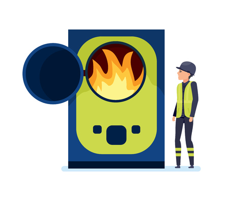 Worker burns garbage in special oven, sorts garbage and recycles.