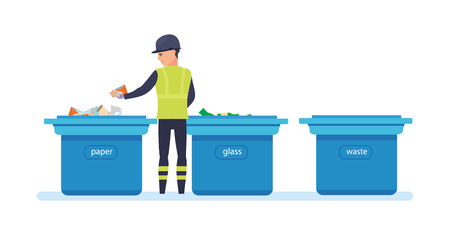 sorts: Cleaning city. Household waste, recycling. Employee of service collect garbage.