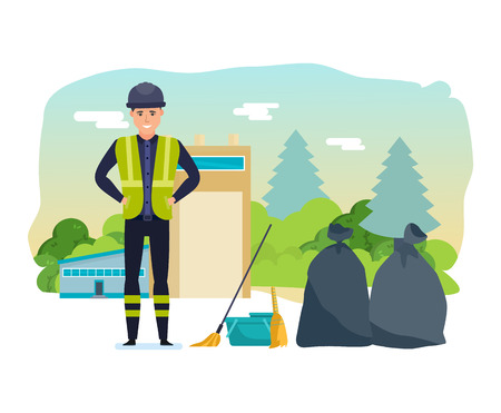 further: Worker collects garbage, sort, for further processing of household waste.