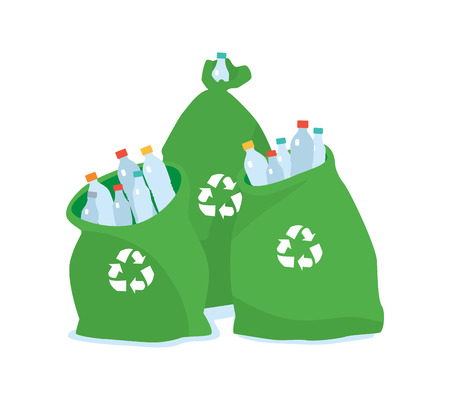 Ecology friendly plastic bag for recycling. Cleaning city. Household waste. Recycling of industrial waste. Vector illustration on white background isolated.