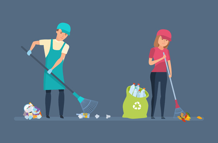 activist: Cleaning city. Household waste, recycling. Charitable affairs. Young volunteers are engaged in cleaning territory of garbage, for further wasteless processing. Vector illustration in cartoon style. Illustration