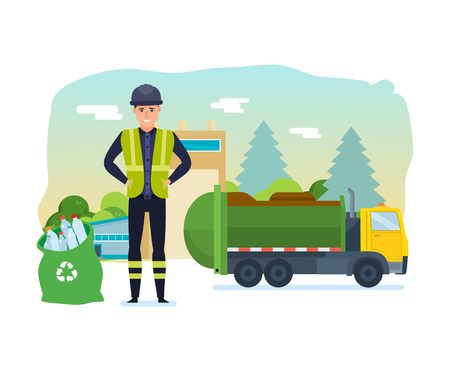 Worker collect garbage in a garbage truck to take him out of the city. Cleaning city. Household waste, recycling. Recycling of industrial waste. Vector Illustration isolated in cartoon style. Stock Photo