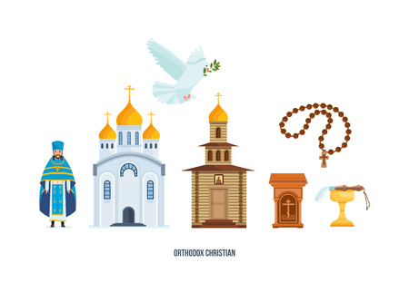 Christian cross, church, chapel, pigeon with branch, priest in cassock. Ilustração