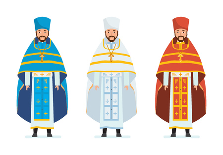 Religious priests, in beautiful spiritual robes, cassocks, vestments. Service. Ilustração