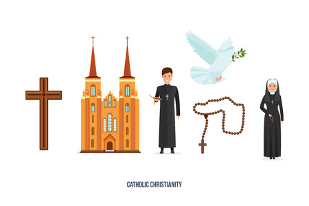 pastor: Catholic cross, cathedral, priest and nun, pigeon with branch, deity.