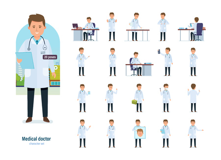 ENT: Set of character medical doctor in different poses. Healthcare, help. Illustration
