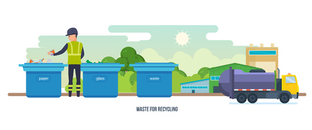 further: Waste for recycling. Cleaning city. Household waste. Garbage truck.