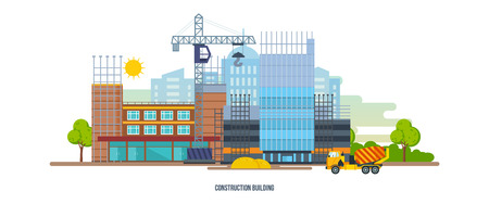 Construction building house premises with help of special equipment, transport.