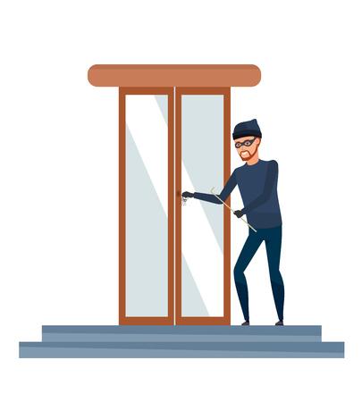 Thief, burglar, in mask, commits crime. Hacking door in bank.