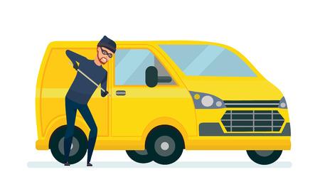Ladrón produce piratería, robo de automóviles con ayuda de medios improvisados.