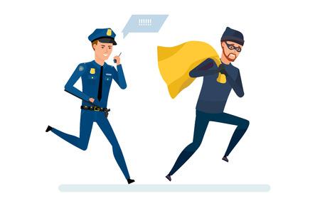 Krimineller Dieb mit Geld, läuft weg von Polizeibeamten. Vektorgrafik