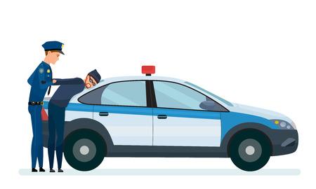 Un policier arrête un voleur sur le capot de sa voiture de police. Vecteurs