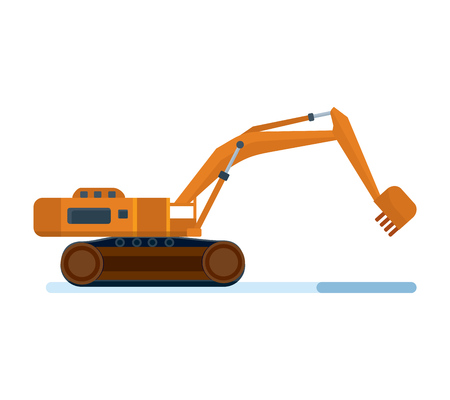Modern construction machinery. Industrial excavator on a construction site.
