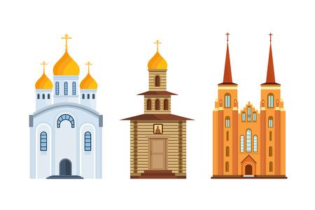orthodoxy: Orthodox church, christian church. Christian chapel, cathedral. Worship, divine power. Illustration