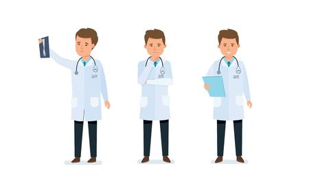 Medisch werker, arts, bekend met resultaten, onderzochte documenten, aangekondigde resultaten. Stock Illustratie