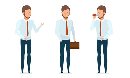 financial advice: Concept of financial management, analysis, research. Financial manager provides advice, conducts business, rests, drinks water, business lunch, relaxes. Vector illustration in cartoon style.