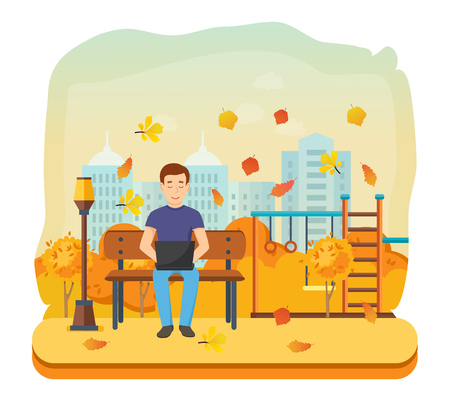 Young people with gadgets in the autumn. The guy running remotely on a freelance, job on a laptop on a bench in the autumn park. Vector illustration isolated in cartoon style.