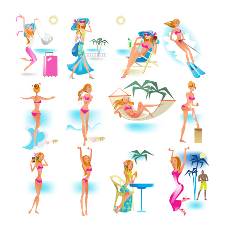 Summer beach set. Sexy cartoon girl character. Girl in different situations, relaxes in summer on sea: she bathes, sunbaths, swims on skis, rests, drinks cocktails. Illustration in cartoon style.