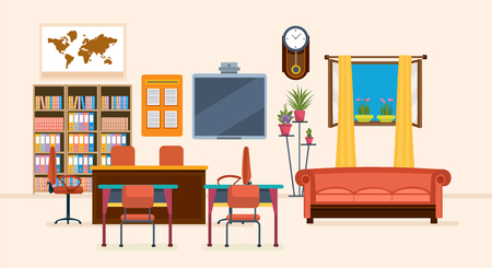 Interior of room for teacher, with furniture, interior items, thematic objects. Workplace. Education and training. Class for education, board, table, study, blackboard and lesson Vector illustration Illustration