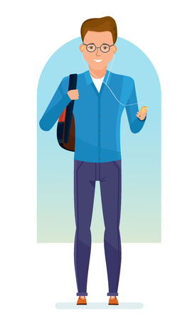 Set of character modern student. Education and training. Happy young student with a backpack on his shoulders, listening to music in the player. Vector illustration in cartoon style. Illustration