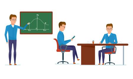Set van karakter moderne student. Onderwijs en training. Student op school klas antwoorden in de buurt van schoolbord, werkplek, kennis te maken met materialen, lessen. Vectorillustratie in cartoon stijl.