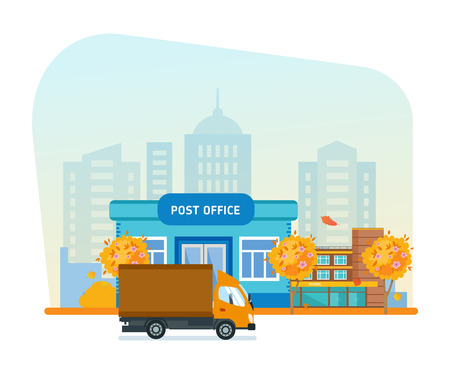 Exterior of post office, office building, autumn city street, transport. Illustration